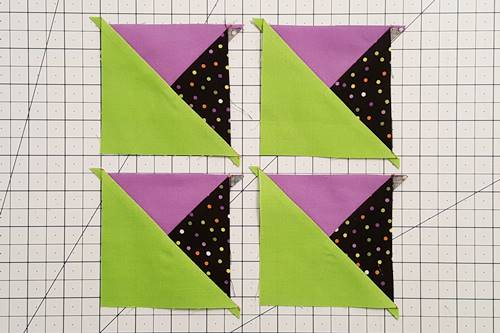 Step 5 3 patch quarter square triangles: Press the seams open or toward the darker fabric.