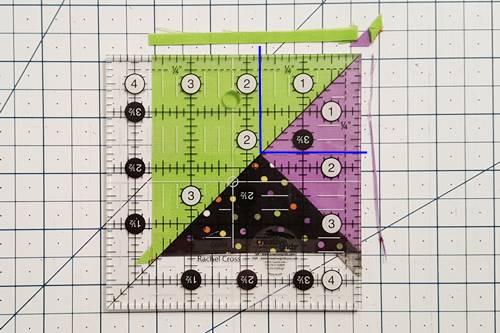 Step 6 3 patch quarter square triangles: How To Square Up quarter square triangles.