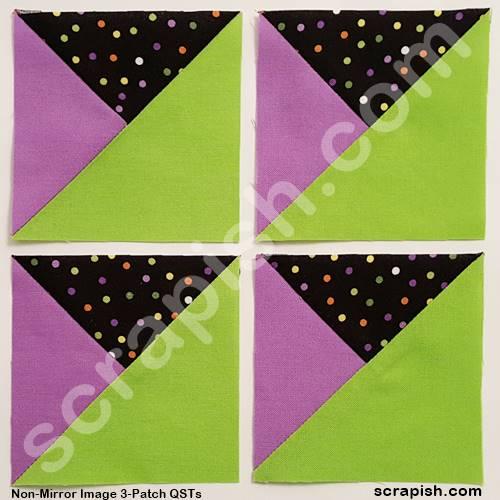Picture of non-mirror image 3 patch quarter square triangles.