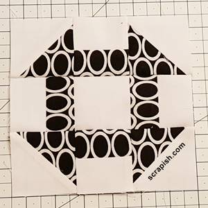 churn dash quilt block pattern Step 8c