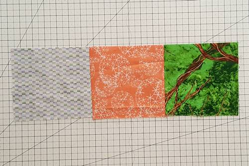 Step 8 Crazy Quilt Block: Stitch a number of fabric scraps together to get the needed length.