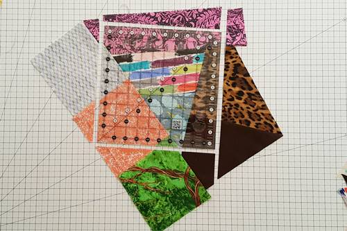 Step 12 Crazy Quilt Block: Cut out a square block.
