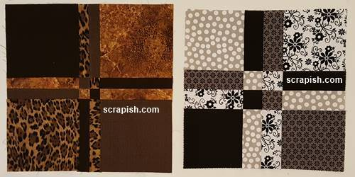 Disappearing 4 Patch Quilt Block Cutting Line Width Comparison
