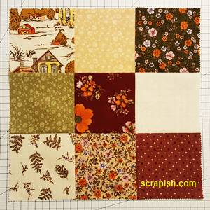 Disappearing Nine Patch Quilt Block Step 1 Using 9 Different Fabrics
