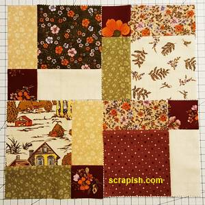 Disappearing Nine Patch Quilt Block Step 4 Layout 5