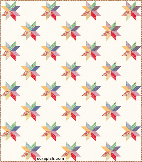 Traditional Eight Point Star Quilt Pattern