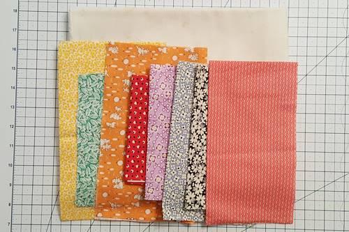Eight Point Star Quilt Block: fabrics used.