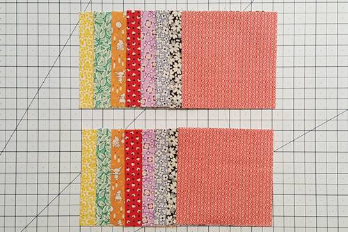 Step 1 Eight Point Star Quilt Block: From each fabric to be used for the star points cut 2 (4 1/4 inch) squares.
