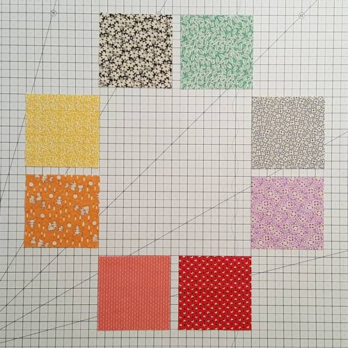 Step 2 Eight Point Star Quilt Block: Arrange the fabric color placement to your liking.