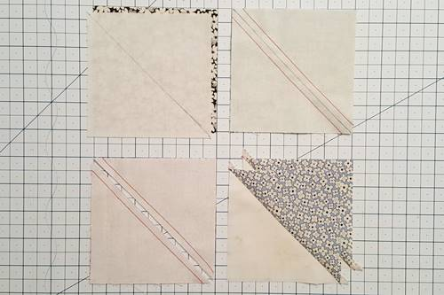 Step 4 Eight Point Star Quilt Block: Make half square triangles.