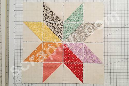 Step 8 Eight Point Star Quilt Block: Place the half square triangles made in Step 7  in the center square of the block.