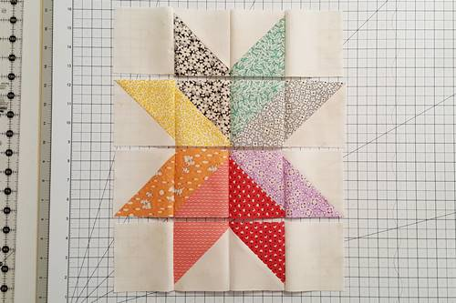 Step 10a Eight Point Star Quilt Block: Stitch the patches of each row together.