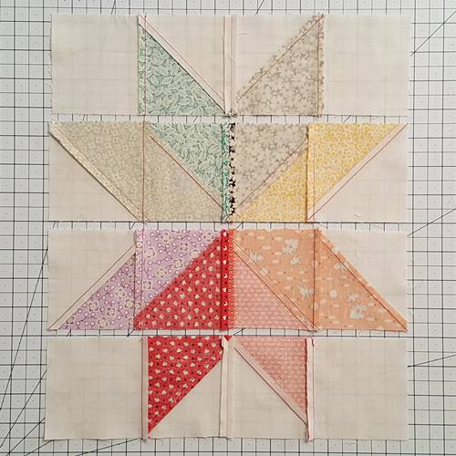 Step 10b Eight Point Star Quilt Block: Stitch the patches of each row together.