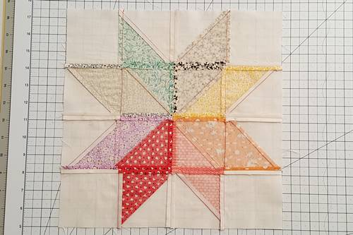 Step 12 Eight Point Star Quilt Block: press the seams open.