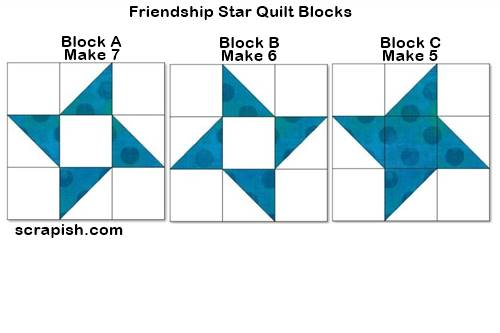 Step 4 Friendship Star quilt pattern blocks: Make 18 (12 inch finished) blocks. Picture of 3 different friendship star quilt blocks to make.