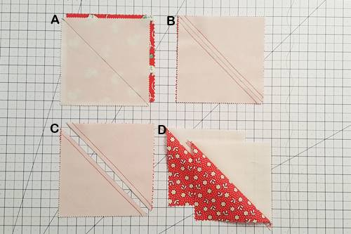 Step 1 half square triangle quilt pattern: Make half square triangles.