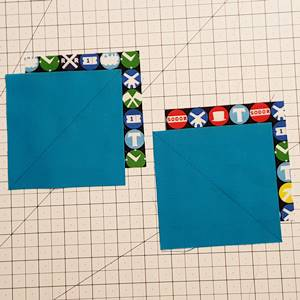 half square triangles using directional fabric