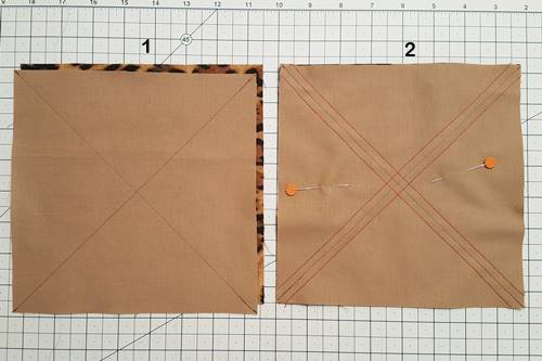 Steps 1 & 2 Making 8 Half Square Triangles At Once with no waste
