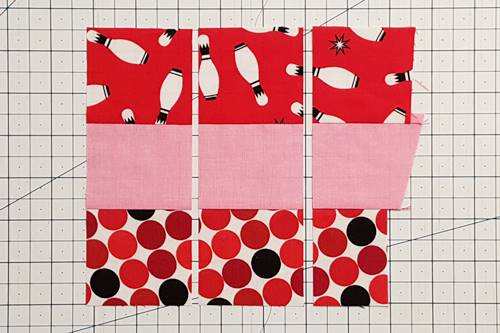Step 2 Heart Quilt Block Pattern: Make Strip Sets.
