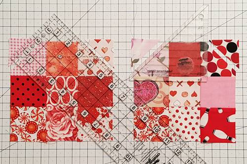 Step 4b Heart Quilt Block Pattern: Clip Top Corners of squares in Row 1