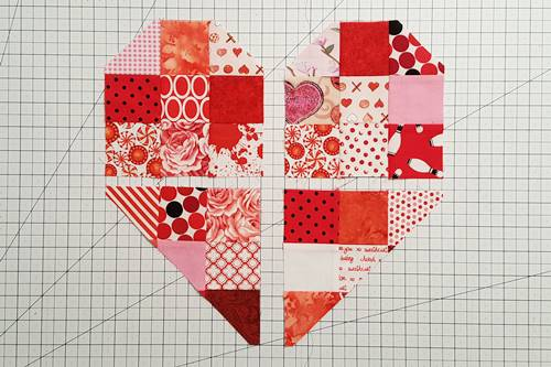 Step 6 Heart Quilt Block Pattern: Heart Shape Revealed.