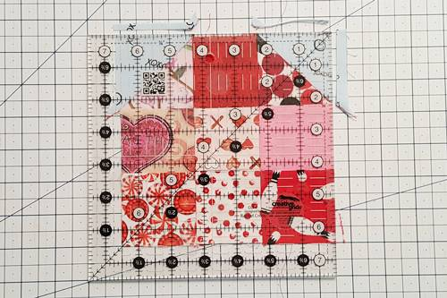 Step 9 Heart Quilt Block Pattern: Square Up Heart Quilt Block.