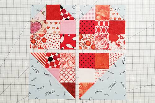 Step 10 Heart Quilt Block Pattern: All 4 squares are trimmed to 6 1/2 inches square.