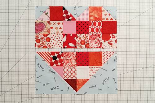 Step 11 Heart Quilt Block Pattern: With right sides together, stitch squares 1 and 2 using a 1/4 inch seam. Then, stitch squares 3 and 4 together. Press seams open.