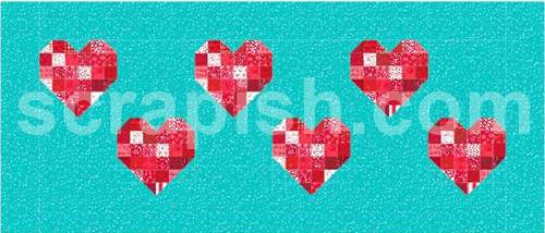 Picture of the heart quilt block pattern in a bed runner.