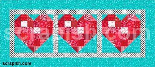 Picture of the heart quilt block pattern in a table runner.