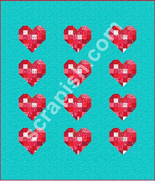 Picture of a quilt using a scrappy 12 inch Heart Quilt Block Pattern.