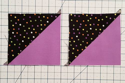 Step 1d Hourglass Quilt Block: press the seams toward the darker fabric.