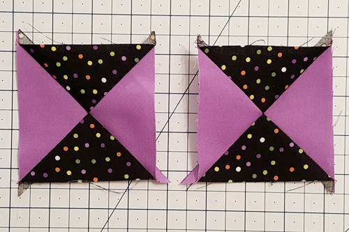 Step 5 Hourglass Quilt Block: Press the seams open or toward the darker fabric.