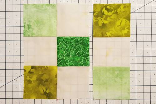 Step 4c Irish Chain Quilt Block: open units to right sides up.