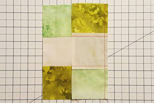 Step 4d Irish Chain Quilt Block: stitch unit 3 to unit 2.