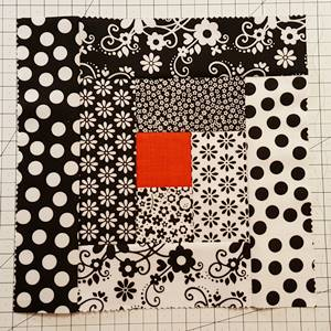 Log Cabin Quilt Block Steps 5b - d