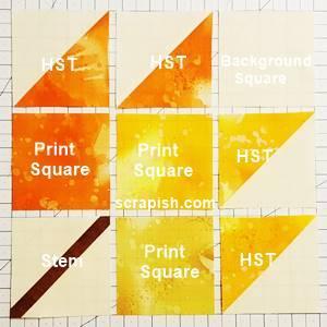 maple leaf quilt block pattern Step 4