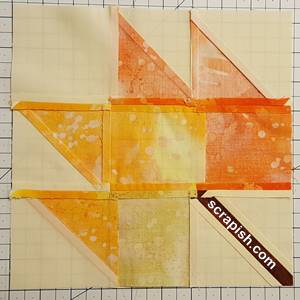 backside of maple leaf quilt block pattern Step 8
