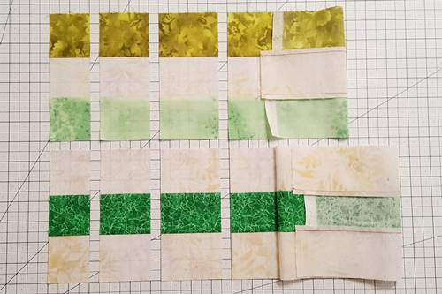 Modern Irish Chain Quilt Block: cut the units of your strip sets in different widths.