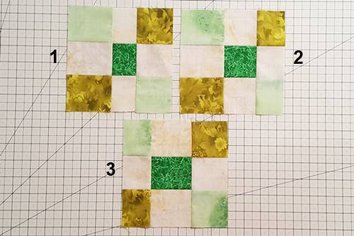 Modern Irish Chain Quilt Blocks assembled.