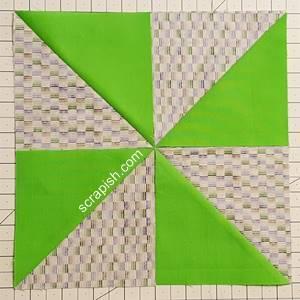 pinwheel quilt block layout comparison step 2