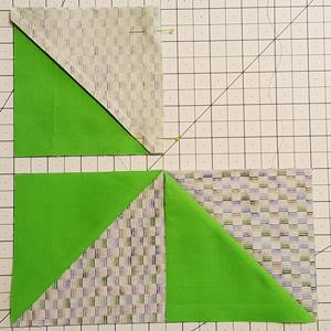 Step 3 Pinwheel Quilt Block Pattern: stitch units of row 1 together.