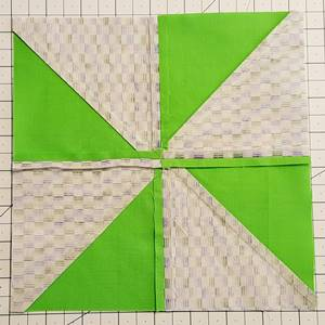 backside of pinwheel quilt block pattern Step 5a