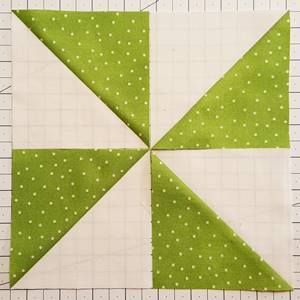 pinwheel quilt pattern Step 3a Block 1