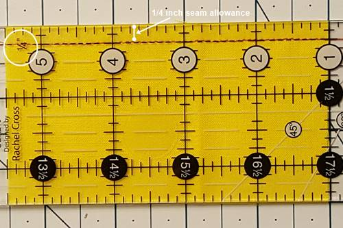 Picture showing a quarter inch seam allowance.