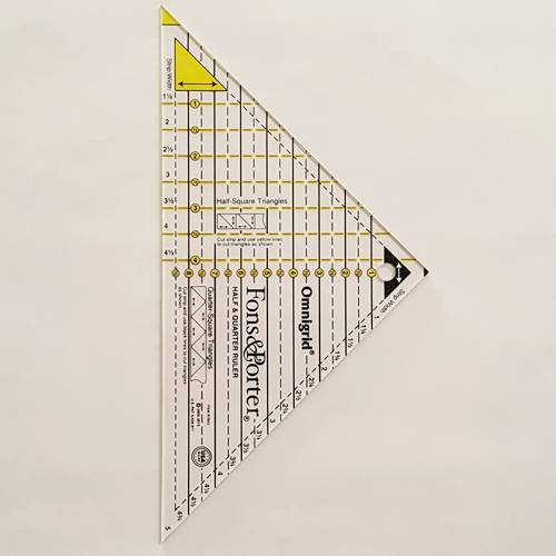 Style 2 Half square triangle ruler has a full triangular tip.