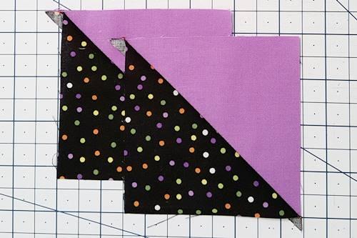 Step 1 Quarter square triangles: First, make half square triangles.