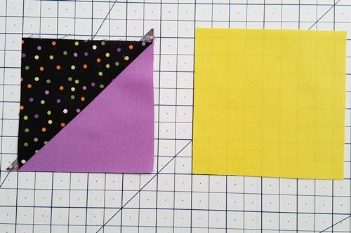 Step 2 Start with one half square triangle and one square.