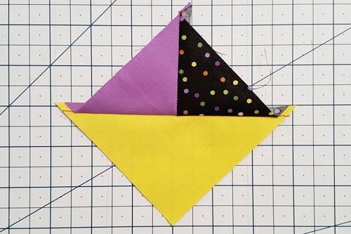 Step 5 quarter square triangles: Press the seams open or toward the darker fabric.