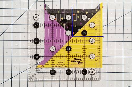 Step 6 quarter square triangles: How To Square Up quarter square triangles.